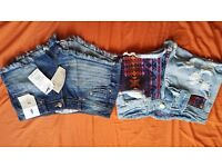 Denim shorts bundle, 2 pairs of denin shorts, both size 6, wanting £8