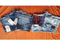Denim shorts bundle, 2 pairs of denin shorts, both size 6, wanting £8