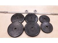 CAST IRON RUBBER ENCASED WEIGHTS SET WITH BARBELL - 1 Inch holes