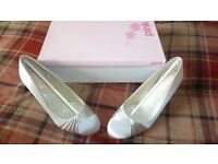 Pink Paradox London Satin Ruffle Silver Shoes UK5 / EU38