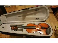 Half sized violin without a bow,with a case