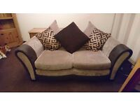 Large 2&3 seater sofas for sale, brown fabric.