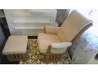 Dutailier nursing cream gilding chair with matching foot stool