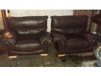 2 Very Comfortable Matching Brown Leather Armchairs - Free Delivery