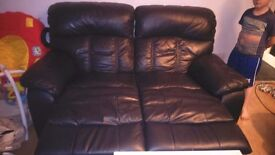 3 and 2 real leather recliner sofas