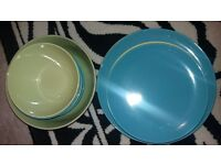 Green and blue plates and bowls