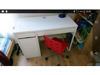 Ikea white desk kid's and red chair