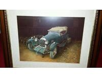 4 framed pictures of old cars