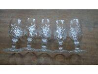 Set of 5 Vintage Cut Glass Sherry Glasses