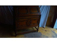 Oak Bureau Solid Old Oak Piece In Very Good Condition Writing Table & Compartments Insides Two Doors