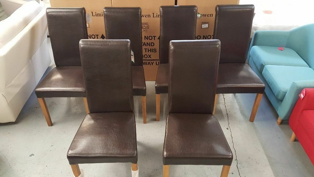 New 20 Julian Bowen Cuba Brown Faux Leather Dining Chairs **CAN DELIVER**