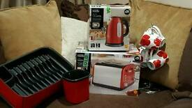 RED KETTLE, 4SLOT TOASTER, MUG TREE AND MUGS, PLATES AND CUTLERY DRAINER FOR SALE
