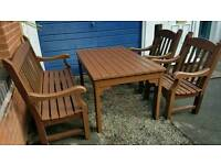 Garden set . Wood table, bench and 2 armchair