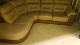 Leather L Shape Sofa only 18 moths old with foot stool. Excellent condition.