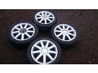 Set of 4x100/4x112 nine spoke alloy wheels.