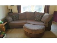 3 seater brown DFS sofa and footstall with 2 cushions
