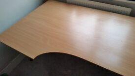 Contemporary sleek office pine desk.