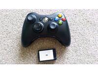 Wireless black Xbox 360 controller