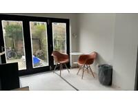 X2 brick red armchairs / chairs