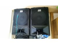 2 x DAP Audio Speakers with Speaker Stands and Cables