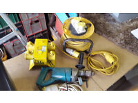 Drill - Job Lot - 110v Makita Core Cutter / Hammer Drill with case, 4 way splitter + extension lead.