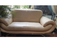 2 Seater Cream Leather Settee