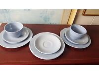 Two Blue Cups and Three Saucers
