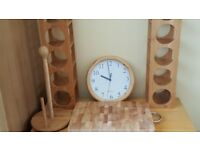 Pair of Bamboo Wine Racks,Pine Wall Clock,Wooden Chopping Board and Wooden Kitchen Roll Holder