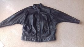 Ladies leather bomber jacket.