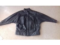 Ladies leather bomber jacket.
