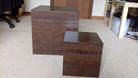 Set of 2 dark wood storage cubes - great condition