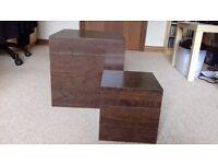 Set of 2 dark wood storage cubes - great condition