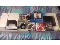 SONY PS4 500GB Black Console but has a white skin + 5 GAMES...