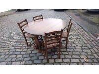 VINTAGE OAK DROP LEAF DINING TABLE + 4 ORIGINAL LADDER BACK STYLE CHAIRS VGC SEATS RECENT RECOVERED