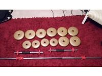 Weights York dumbell and bar set