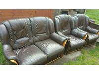 Leather sofa with 2 chairs from world of leather
