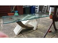 Marble with a glass top coffee table