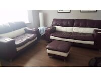 Leather 3 Piece, 2 Piece Sofa's with Footstool