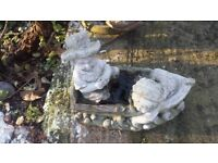 GARDEN ORNAMENT BOY AND BOAT STONE CONCRETE