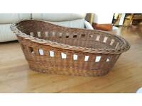 Wicker basket, moses, crib, cot. Vintage? Little green sheep mattress and protectors
