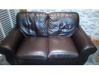 2 seater Leather sofa....Brown. Very Good condition