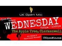 UK Open Mic   7pm   EVERY WEDNESDAY @ The Apple Tree, Clerkenwell (Farringdon/Holborn/King's Cross)