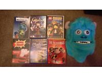 6 dvds including disney and pixar and moving sully mask