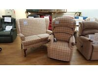 Ex-Display HSL Linton Riser Recliner Chair & Matching Two-Seater Sofa, Free Delivery