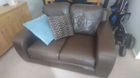 BROWN LEATHER SOFA TWO SEATER