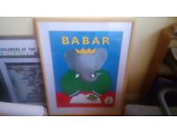 Beautiful, large, framed Babar picture
