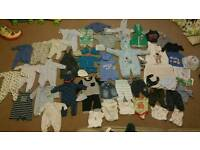 Large bundle of baby boy clothes size 0-3 months