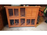 Large two-storey rabbit hutch and accessories for sale