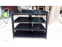 Solid Black Glass TV Stand