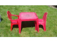Kids Plastic Table with 2 chair in Red FREE*